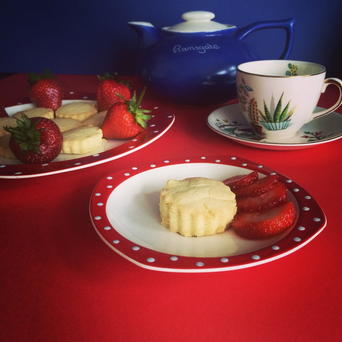 Vintage Shortbread Recipe Served with Strawberries on Midwinter
