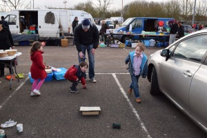 Us making the most of the space to play at a car boot!