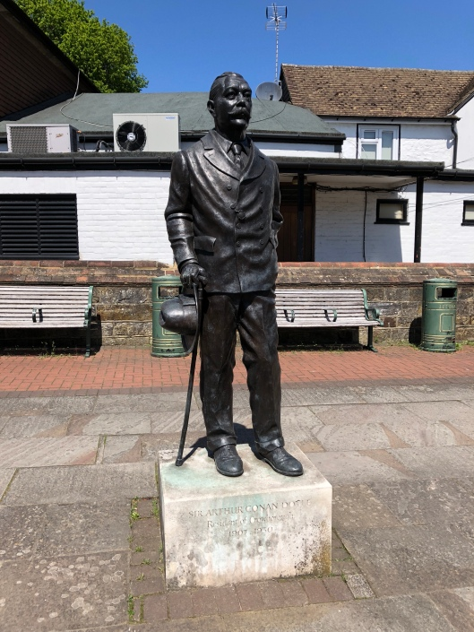 Bronze statue in Crowborough where he lived until his death.